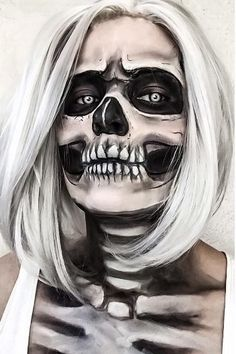 21 Halloween make-up before-and-after buts that will blow you away Halloween Contacts, Halloween Makeup Looks, Halloween Kostüm, Halloween Cosplay, Halloween Costumes, Vintage Halloween, Scary Makeup, Skull Makeup, Sfx Makeup