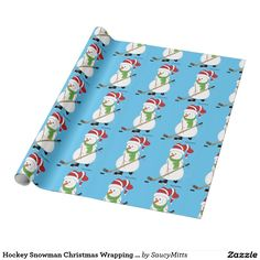 Hockey Snowman Christmas Wrapping Paper. Wrap up their Christmas gifts with this hockey themed wrapping paper.