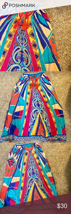 """Flying Tomato tassel tie print maxi Super cute! The vibrant colors are perfect for spring! Measures 36"""" in length Flying Tomato Skirts Maxi"""