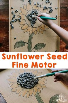 Here is the perfect summertime activity for preschoolers! This activity will give children the opportunity to work on hand-eye coordination, pencil grip, and other fine motor skills. Motor Activities, Nature Activities, Preschool Activities, Outdoor Activities, Sunflower Seeds, Inspired Learning, Pine, Pencil Grip, Creative Activities For Kids