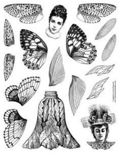 Wing rubber stamp set paper art doll fairy head collage
