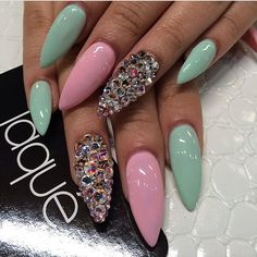 Mint green and pink stiletto nails with gems. would have done pearls instead and fewer Pink Stiletto Nails, Pink Nails, Mint Green Nails, Fabulous Nails, Gorgeous Nails, Fancy Nails, Trendy Nails, Hair And Nails, My Nails