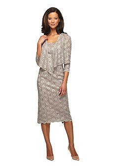 Alex Evenings Three Quarter Sleeve Lace Jacket Dress with Sequin