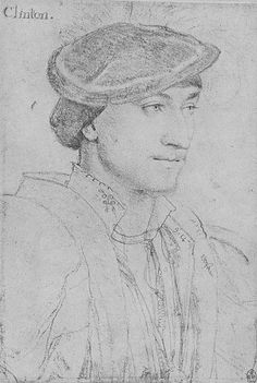 """Edward, Lord Clinton, by Hans Holbein the Younger, c. 1534.  Edward Fiennes de Clinton, 1st Earl of Lincoln.  His first wife was Elizabeth Blount, former mistress of Henry VIII, his second, Ursula Stourton, mother of his heir, and Elizabeth Fitzgerald,""""the fair Geraldine."""" He was Lord High Admiral under Edward VI."""