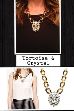 Tortoise and crystal necklace-$15  Preorder now!
