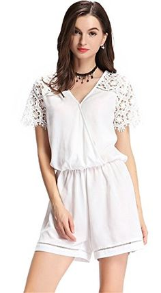 eff9c6126e6 Sexy Floral Lace Insert Cross Wrap Front V Neck Jumpsuit Playsuit Romper  White XL