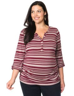 Plus Size Long Sleeve Henley Collar Convertible Sleeve Maternity Top