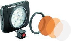 LED-belysning til kamera, Perfekt til filming og fotografering, 6 innebygde LED-pærer, 3 fargefiltre medfølger, Oppladbart batteri