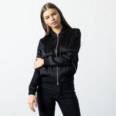 Womens Silk Bomber Jacket In Black $105   DSTLD