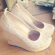 Lace wedges w/ Jean Shorts! So cute...
