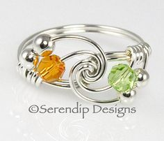 Couples Birthstone Ring Sterling Silver Two Swarovski Crystal Argentium Silver Wire Wrapped Mothers Ring