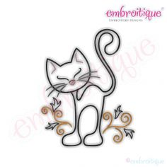 Curly Cat Redwork Outline Embroidery Design