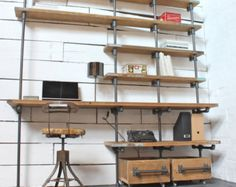 Brooklyn Handmade Reclaimed Scaffolding Boards and Dark Steel Pipe Bookcase with Fully Adjustable Shelves and Ladder - Its salvaged vintage industrial design works perfectly in a sophisticated, casual living space.  This shelving system can be made to measure to your own specifications. The shelves pictured here are 900mm wide, 2670mm tall and 300mm deep... but the skys the limit... The scaffolding boards pictured in this example were simply brushed down so they retained a gritty raw look…
