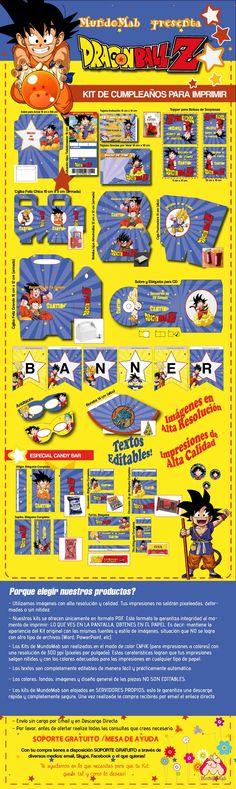 Set de cumpleaños para imprimir Dragon Ball: incluye tarjetas de invitacion, cotillon y etiquetas para #CandyBar  #Imprimibles #MundoMab