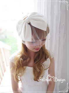 Bow Birdcage Veil Bridal birdcage Veil Bow Veil by Selinish Design