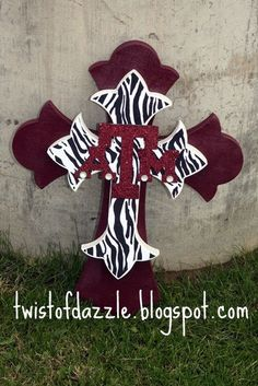 Medium Aggie Cross with Zebra and Glitter by twistofdazzle on Etsy, $35.00