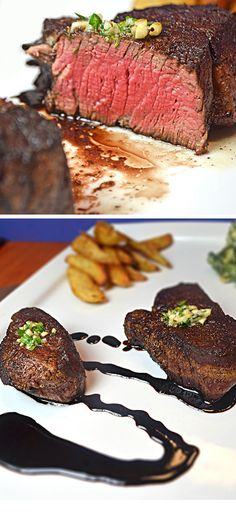 Filet Mignon with Herbed Butter and a Zinfandel Reduction | Click Pic for 22 Easy Romantic Dinner Recipes for Two | Easy Valentines Dinner Ideas for Him