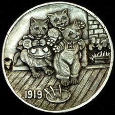 HOWARD THOMAS HOBO NICKEL - THREE LITTLE KITTENS - 1919 BUFFALO NICKEL Hobo Nickel, Dad Tattoos, Coin Art, Bullion Coins, Antique Coins, Little Kittens, Cat Jewelry, Visionary Art, Rare Coins