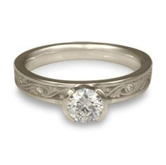 Product Image: Extra Narrow Wind and Waves With Diamonds Engagement Ring in Platinum