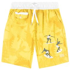 Boys swimshorts in bright yellow with surfer print.  Elastic Waistband Drawstrings Surfer Print Side and back pockets 100% Polyamide, 100% Polyester lining Hand Wash