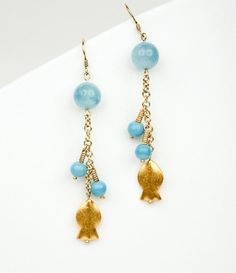 Gold Fish Dangle Chain Earrings Hill Tribe by LLDArtisticJewelry, $49.95