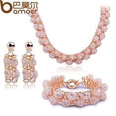 925 Silver Store Bamoer Wedding Jewelry Sets with Crystal 18k Gold Plated Necklace Earrings Bracelet mexican silver jewelry. High Quality Product. High Polished / Fine Workmanship. Never Fade / Scratchproof and Anti - Allergy. Pack with Beautiful Bag as a Gift. Size info is estimate, if concern, Please leave me message.