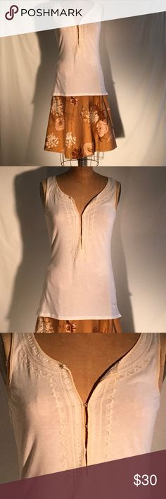 J Crew white jersey kurta-style embroidered trim J. Crew white knit tunic with creamy embroidery that is similar to Indian kurta, traditional garb. Size X-Small. Cotton 60%, modal 25% & linen 15%. Silk trim. PM783 J. Crew Tops