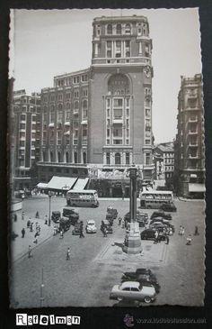 MADRID - PLAZA DEL CALLAO AÑOS 50 - CINE PALACIO DE LA PRENSA - AUTOBUSES DOS PISOS.