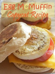 Egg McMuffin Copycat Recipe. If your family loves the classic breakfast sandwich from McDonald's, make it at home. Cheaper, and you can control the ingredients. Easy recipe includes how to bake an egg.