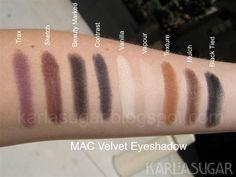 Mac velvet eyeshadows karlasugar.net