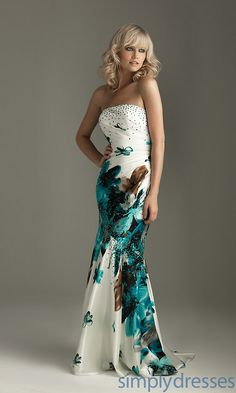 Long Strapless Print Formal Gown, Prom Dress - Simply Dresses