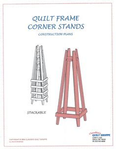 quilt frames for hand quilting with stands | Quilt Stands - Construction Plans