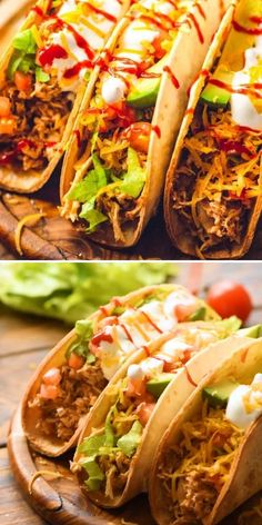 This taco recipe is the BEST EVER! Cooked all day in the crockpot, the shredded chicken makes the most delicious dinner when piled on tortillas with your favorite toppings. You can also use it in enchiladas, burritos, nachos, and more! Put Cinco de Mayo food on your menu! Mexican Dinner Recipes, Dinner Recipes Easy Quick, Good Healthy Recipes, Quick Easy Meals, Weeknight Recipes, Healthy Foods, Easy Shredded Chicken, Easy Crockpot Chicken, Chicken Taco Recipes