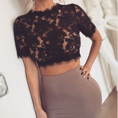 Lace top and nude skirt ✔️ #lace