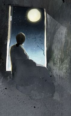 Illustration by Korean illustrator Jam San Art Magique, Moon Dance, Sun Moon Stars, Moon Magic, Beautiful Moon, Moon Art, Moon Child, Blue Moon, Night Skies