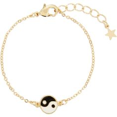 Monsoon Ying Yang Chain Bracelet ($6) ❤ liked on Polyvore featuring jewelry, bracelets, bracelet bangle, lobster claw charms, charm bracelet jewelry, chain charms and chain bracelet