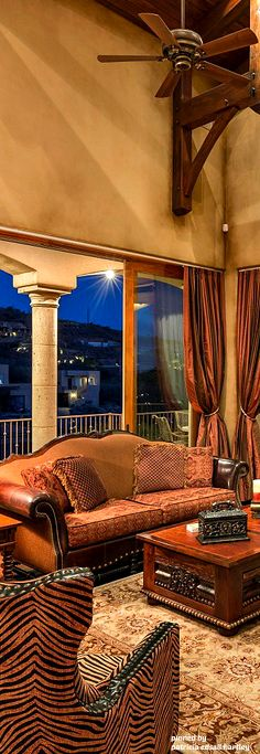 Mediterranean/Tuscan/Old World Décor, have always like two fabric leather couch, love the animal print chairs. Tuscan Design, Tuscan Style, Old World Furniture, Tuscany Decor, World Decor, Mediterranean Home Decor, Design Your Dream House, Tuscan Decorating, Decorating Ideas