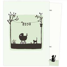 Geboortekaartje Poes en vogel lente (crème - zacht groen)