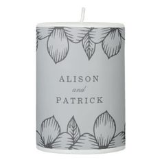 Modern Grey Floral Wedding Pillar Candle