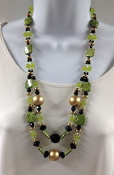 Double strand necklace Peridot necklace  Green by UniquelyArdath, $39.99