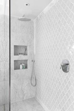 Mosaic Tile Ashbury in White - shower design White Bathroom Tiles, Bathroom Tile Designs, Bathroom Interior Design, Bathroom Flooring, Bathroom Ideas, Bathroom Remodeling, Remodeling Ideas, Bathroom Organization, Bathroom Mirrors