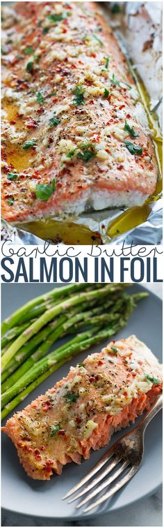 Butter Baked Salmon in Foil Lemon Garlic Butter Baked Salmon in Foil ~ takes less than 30 minutes.perfect for weeknight dinners!Lemon Garlic Butter Baked Salmon in Foil ~ takes less than 30 minutes.perfect for weeknight dinners! Fish Dishes, Seafood Dishes, Seafood Recipes, Cooking Recipes, Healthy Recipes, Whole30 Recipes, Salmon Dishes, Chicken Recipes, Seafood Bake