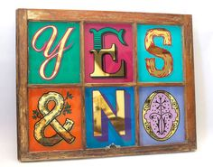YES & NO - 23kt, gold leaf, glass, gilded, hand lettering, sign painting, antique, window