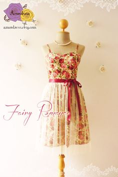 Fairy Romance Vintage Inspired Party Dress Rose by Amordress, $60.00