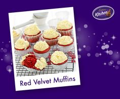 These are something special: red velvet and #chocolate with an awesome White Chocolate Frosting to finish! Red Velvet muffins are just as delicious as they look. These are great for parties or for an anytime moment of yum! #baking #dessert To view the #CADBURY product featured in this recipe visit https://www.cadburykitchen.com.au/products/view/bournville-cocoa/
