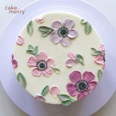 Cake Decorating Frosting, Creative Cake Decorating, Cake Decorating For Beginners, Cake Decorating Videos, Cake Decorating Techniques, Cookie Decorating, Buttercream Cake Designs, Buttercream Flower Cake, Birthday Cake Decorating
