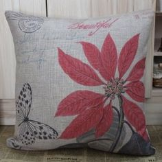 """45cmx45cm Red Leaf Flower Butterfly Linen Cushion Covers :         .        Product name: Cushion Cover CC104  Size:18""""x18"""" (45cmx45cm)  Material: Linen Cotton  Cushion Cover only, Price is for 1pc.    Remark:   1.The Printing is in the front, no printing only natural color of linen in the back.  2.All cushions are handmade, so please understand there ma...Check Price >> http://gethotprice.com/appin/?t=B008RXW6WM"""