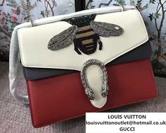 c641a4c1618 Gucci Bee Embroidered Dionysus Leather Shoulder Medium Bag 403348 400235  2017