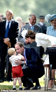 Prince George keeps a brotherly eye on Charlotte #dailymail