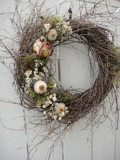 Spring and Summer Twig Wreath With Dried Rose and by donnahubbard, $50.00